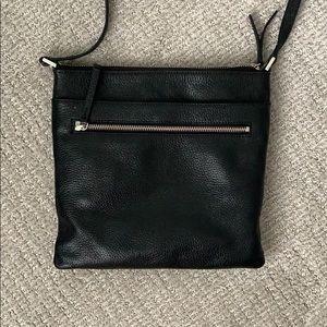 Halogen black leather Crossbody purse